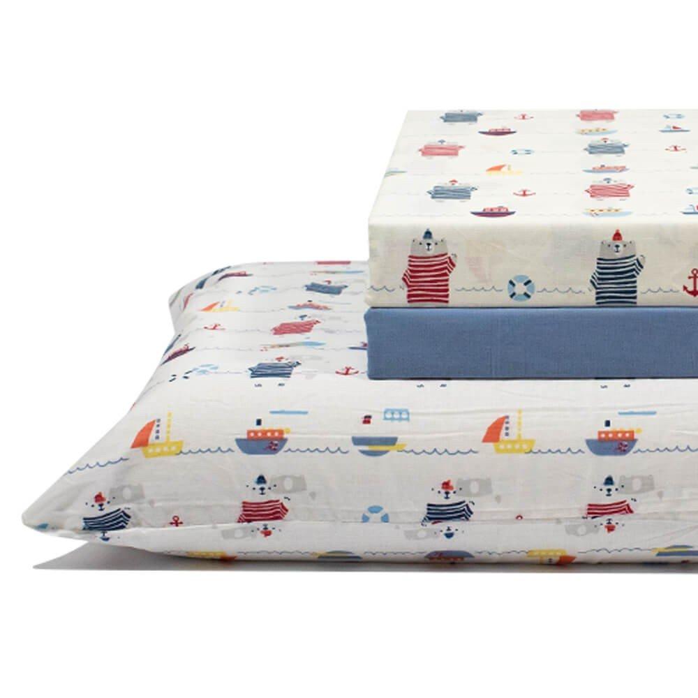 jogo de cama marinha azul 2