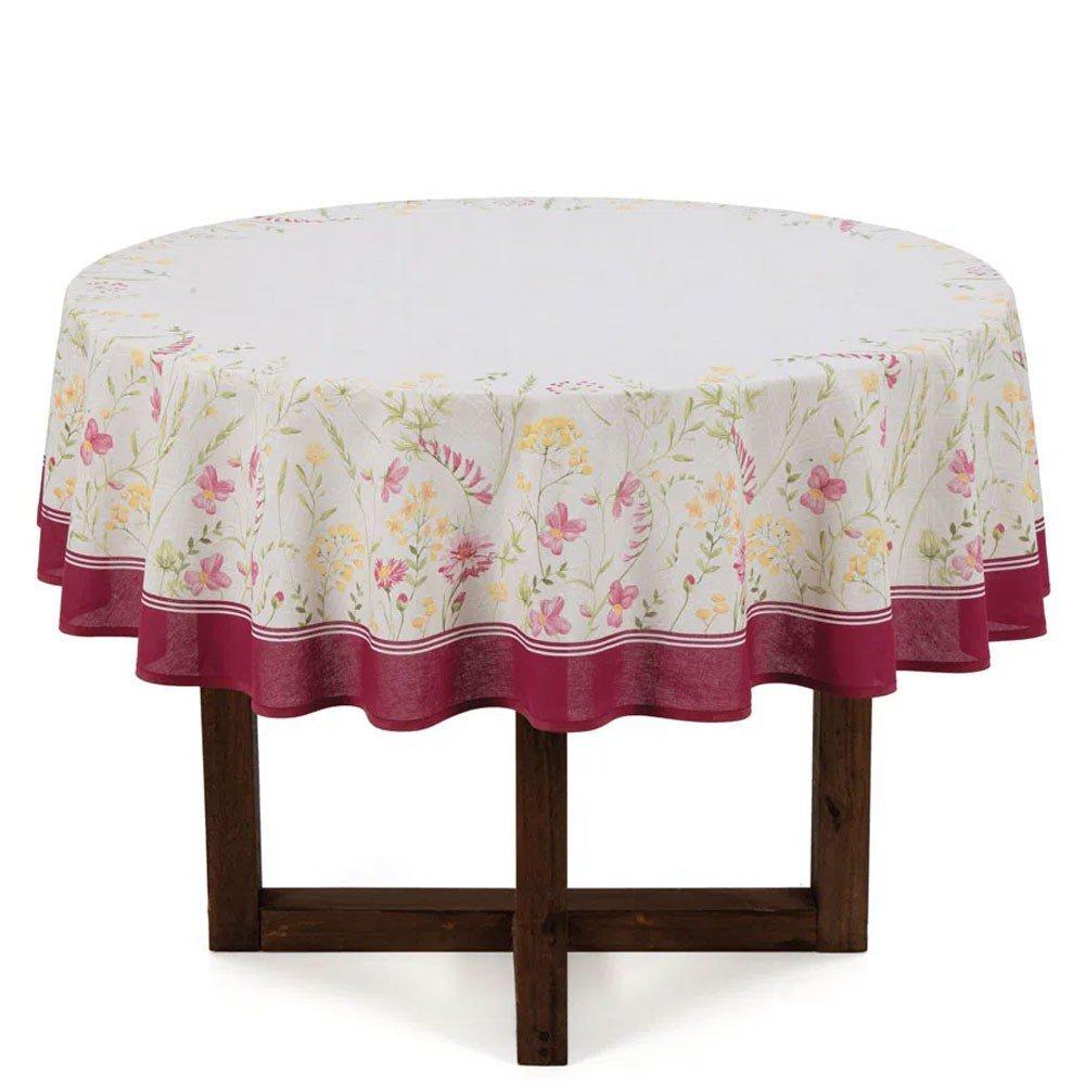 toalha de mesa flores do campo redonda