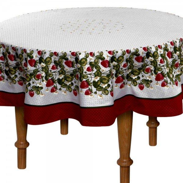 toalha de mesa frutilha redonda