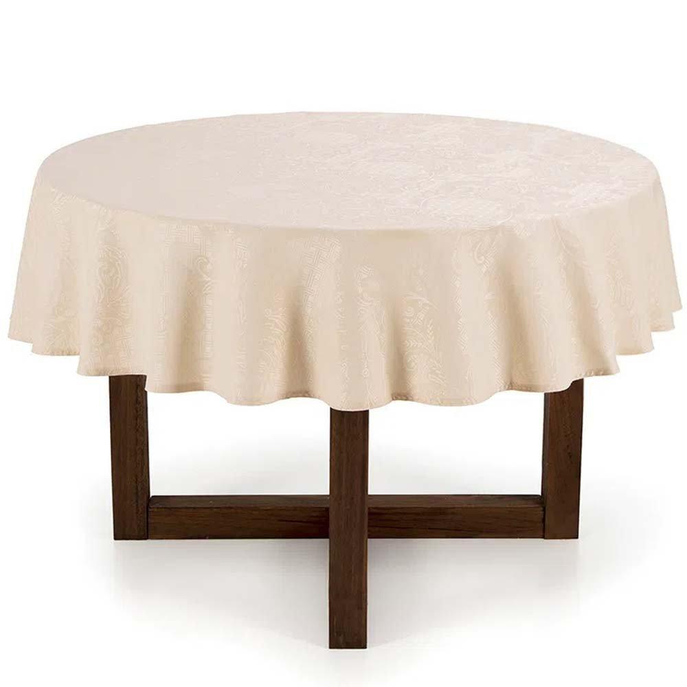 toalha de mesa mendi natural redonda