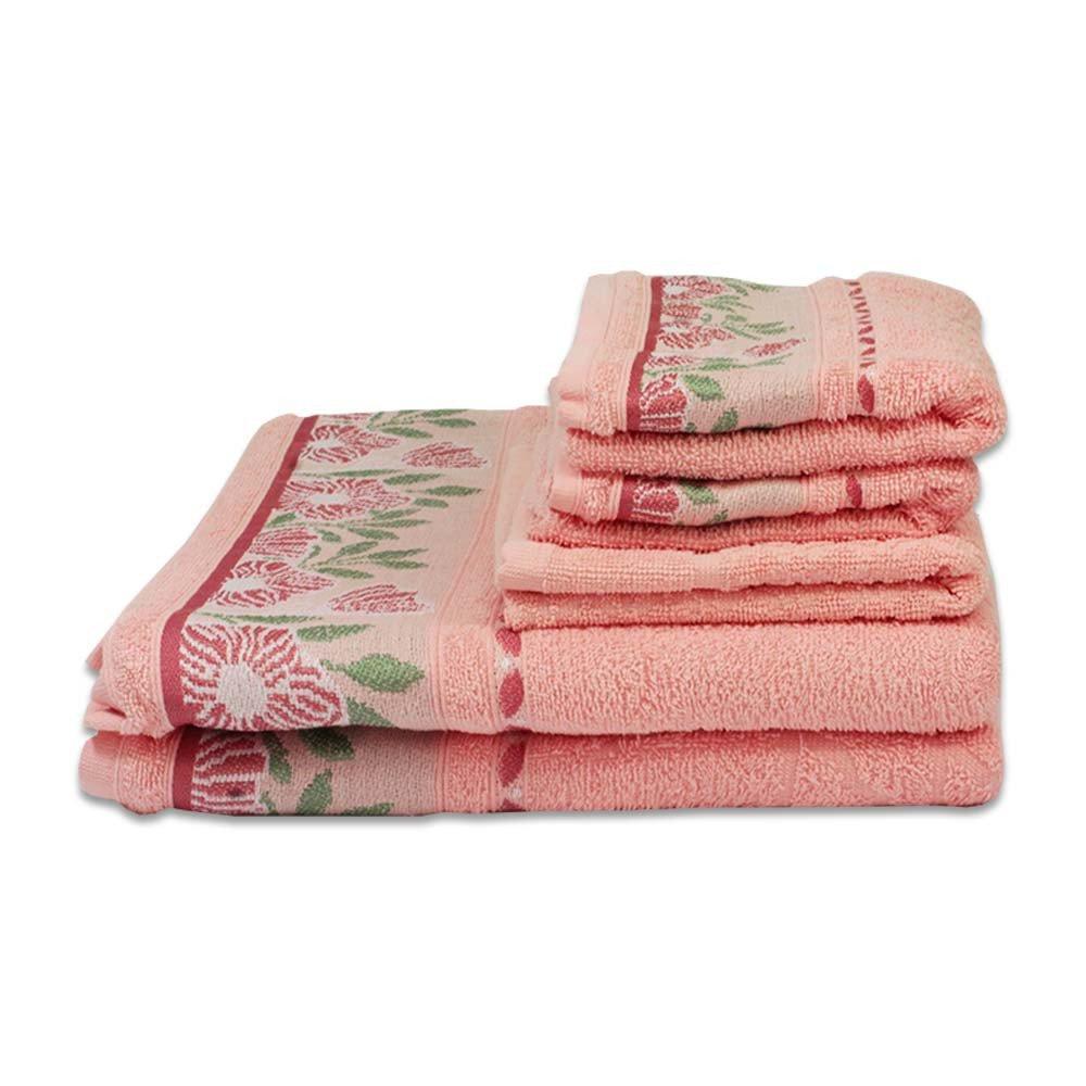 jogo de toalhas 4 pecas jacquard bellis rosa quartz
