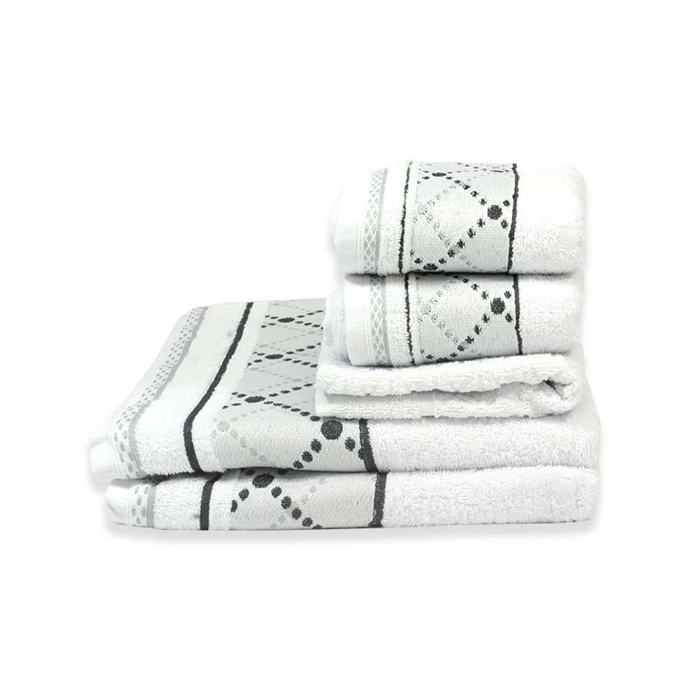 jogo de toalhas 5 pecas jacquard boss branco