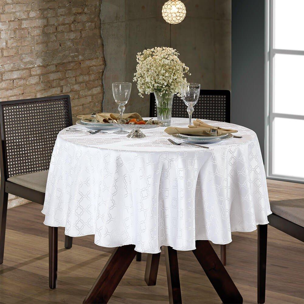 toalha de mesa requinteii redonda tj 4667 branco