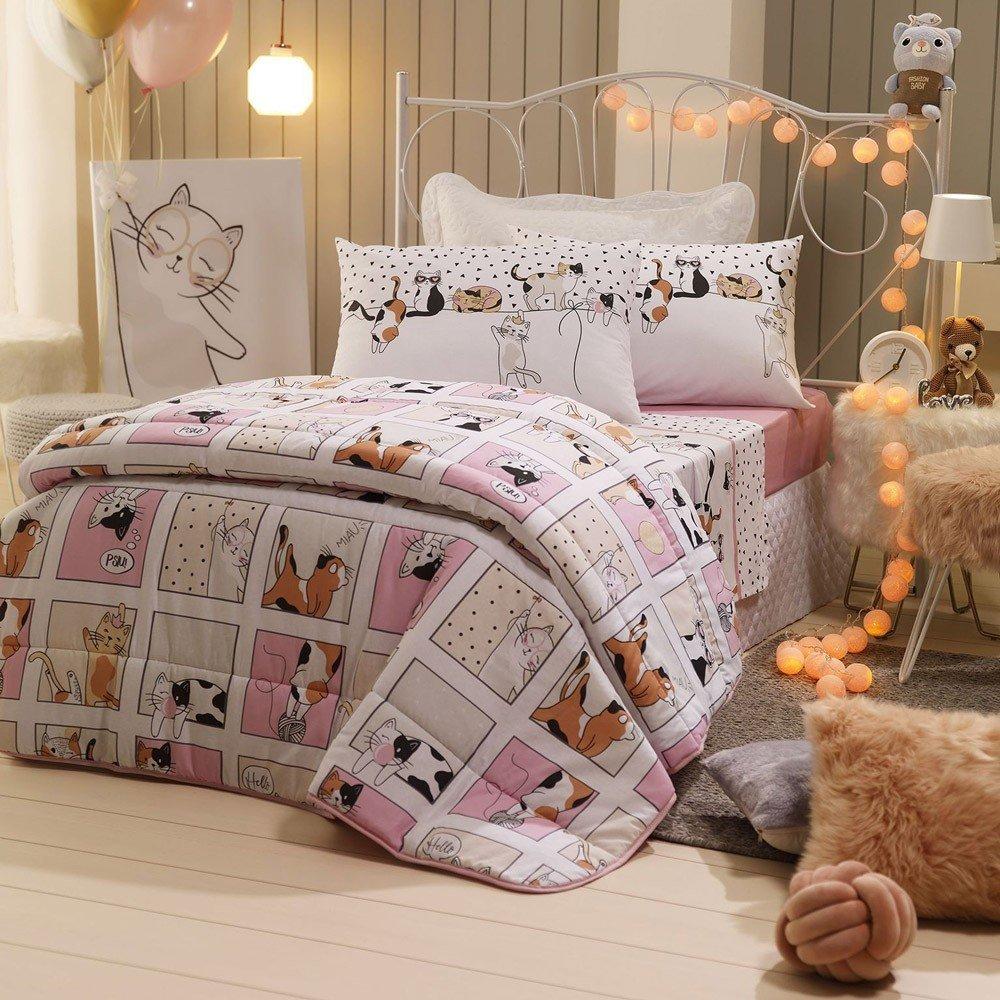 jogo de cama cats
