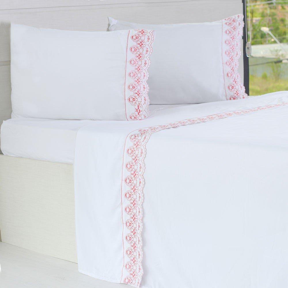 jogo de cama microfibra benecasa branco com rosa