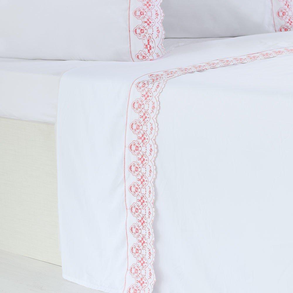 jogo de cama microfibra benecasa branco com rosa2