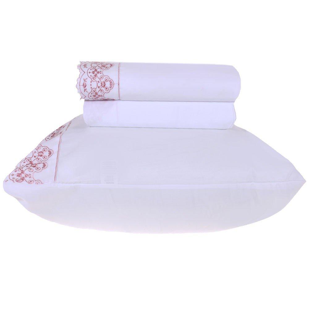 jogo de cama microfibra benecasa branco com rosa3
