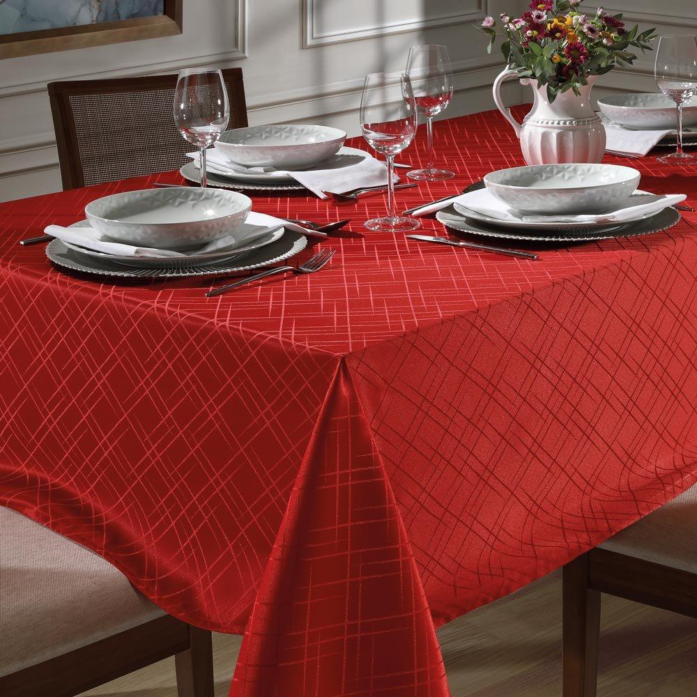 toalha de mesa tj 5795 retangular vermelho