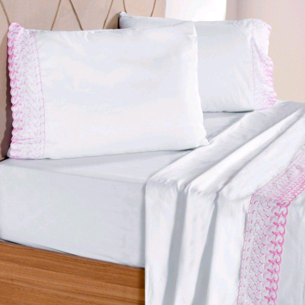 jogo de cama maximus branco rosa